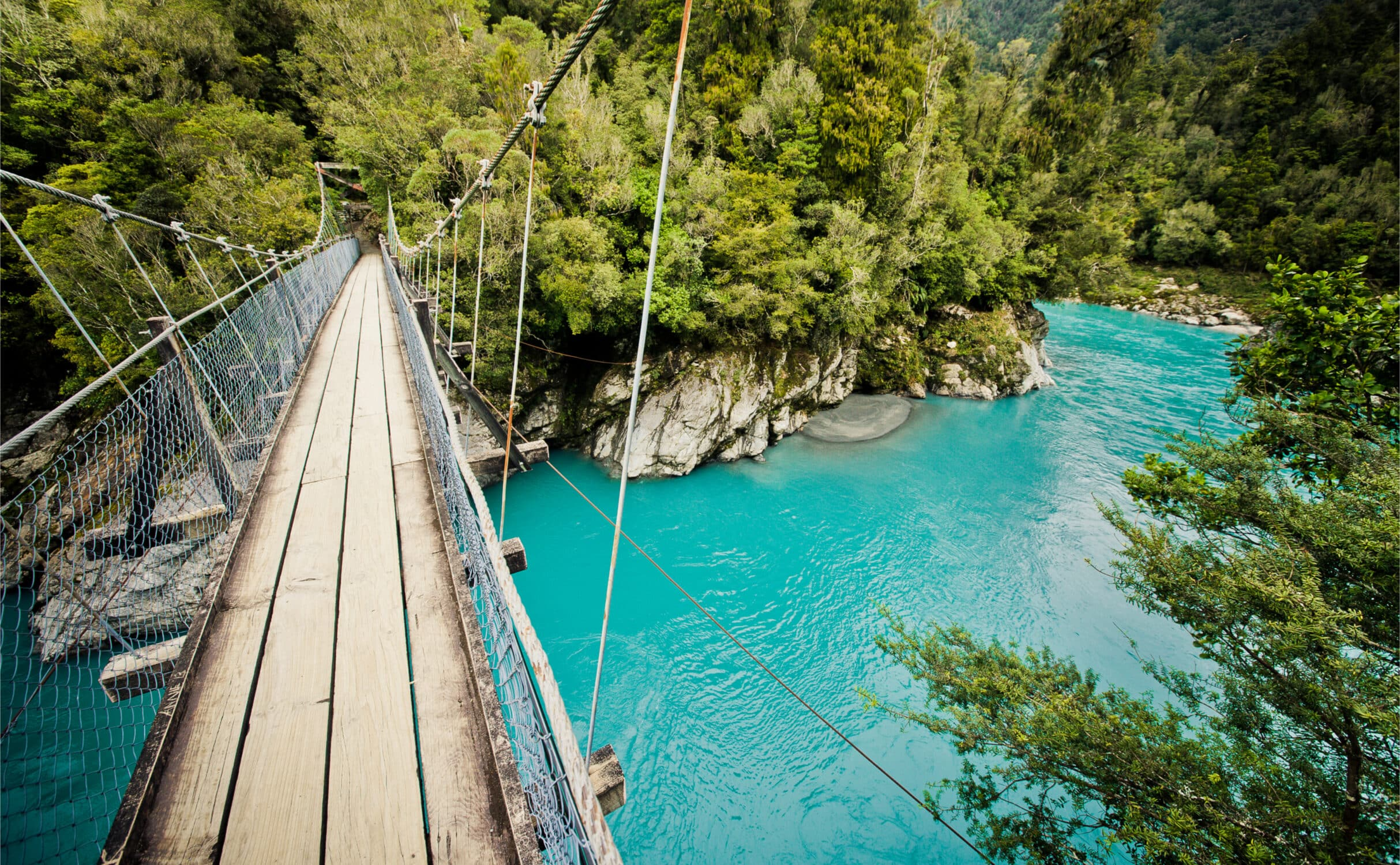 Seilbrücke an der Hokitika Gorge