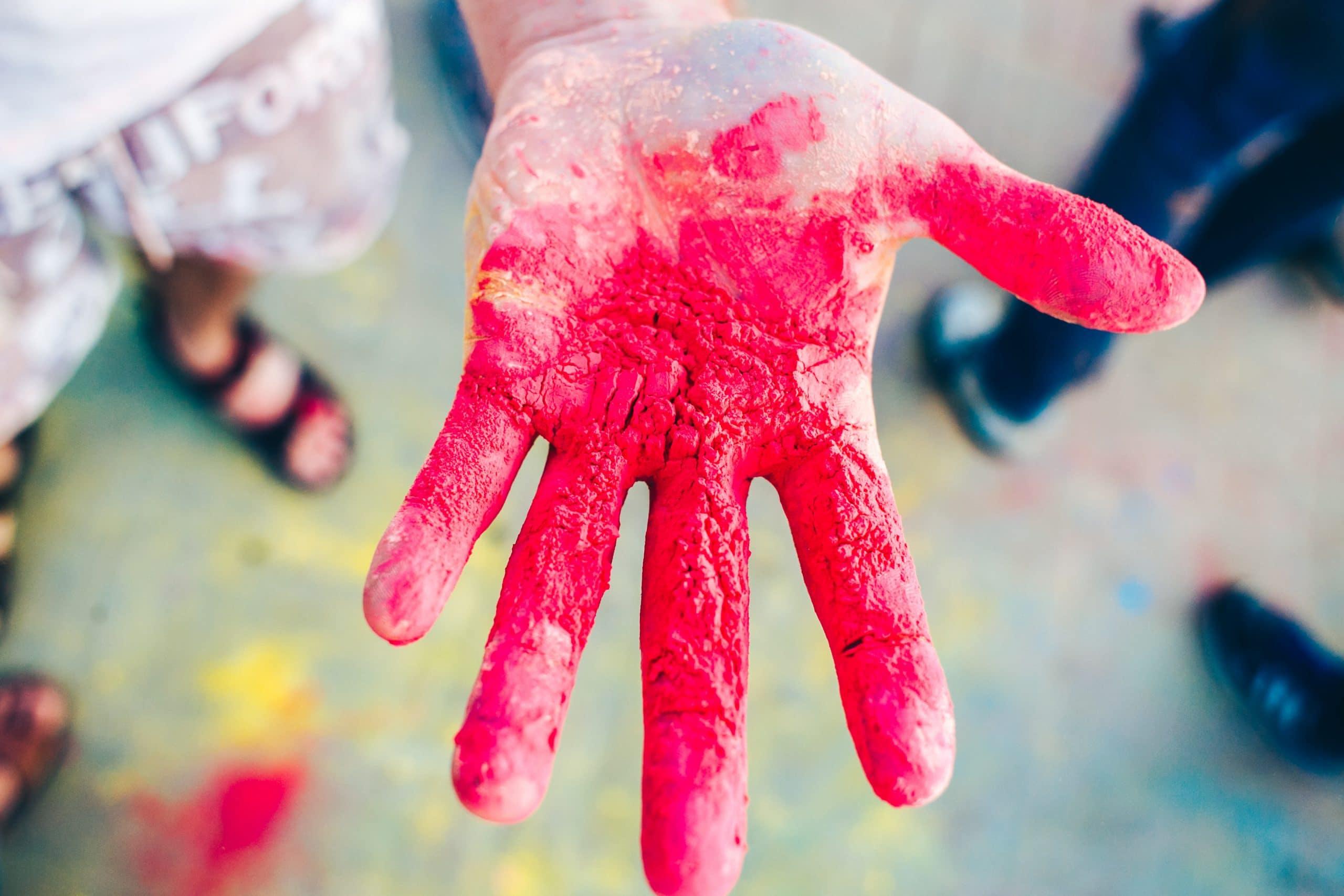 bunte hände farben holi festival