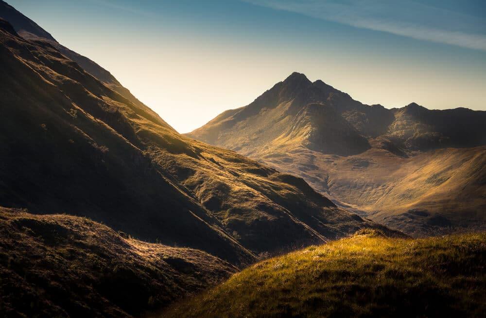Aussicht der Highlands in Schottland